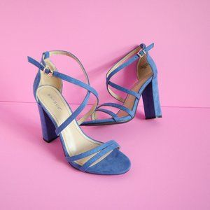 Bamboo Blue Strappy Heels